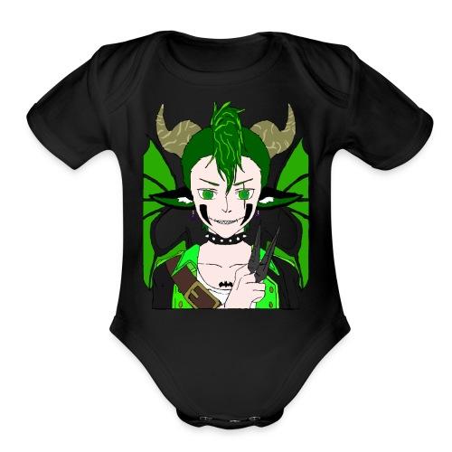 Anarchy punk demon by summer richey - Organic Short Sleeve Baby Bodysuit