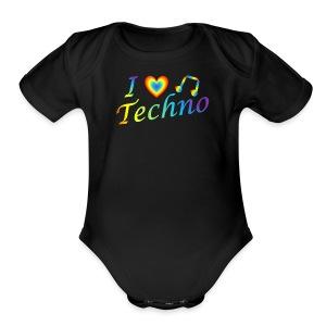 I LOVETECHNO MUSIC - Short Sleeve Baby Bodysuit