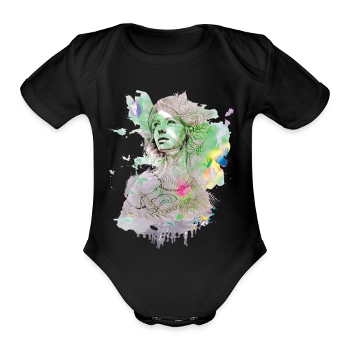 women in multicolor - Organic Short Sleeve Baby Bodysuit