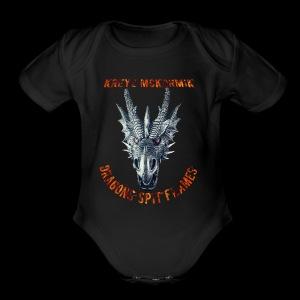 Dragon Spit Flames - Short Sleeve Baby Bodysuit