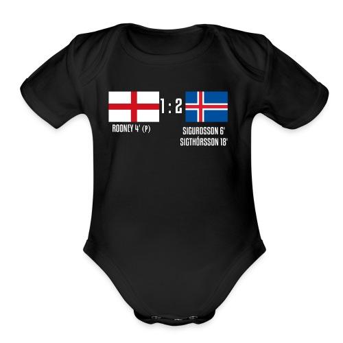 England 1-2 Iceland - Organic Short Sleeve Baby Bodysuit