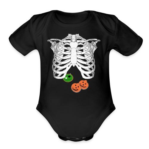 Halloween Trick o Treat Skeleton Donut Lover Shirt - Organic Short Sleeve Baby Bodysuit