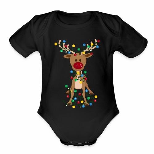 Adorable Reindeer-Christmas-Reindeer-Adorable - Organic Short Sleeve Baby Bodysuit