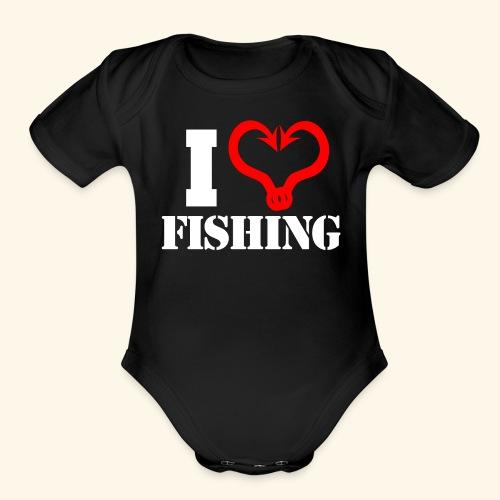 I heart fishing WHITE - Organic Short Sleeve Baby Bodysuit