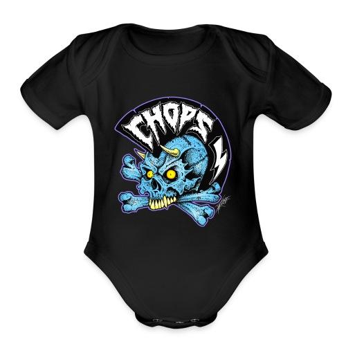 punk skull - Organic Short Sleeve Baby Bodysuit