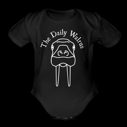 Walrus logo white - Organic Short Sleeve Baby Bodysuit