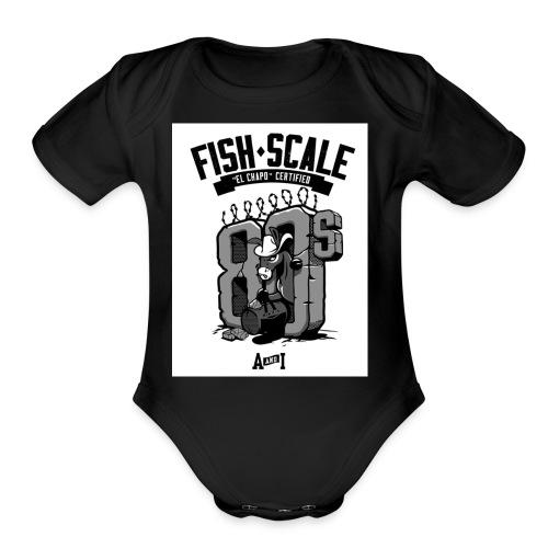 fish scale design - Organic Short Sleeve Baby Bodysuit
