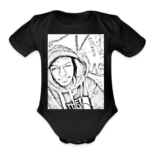 Black and white - Organic Short Sleeve Baby Bodysuit