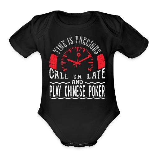 Play Chinese Poker Card Game Gift Shirt Call In - Organic Short Sleeve Baby Bodysuit
