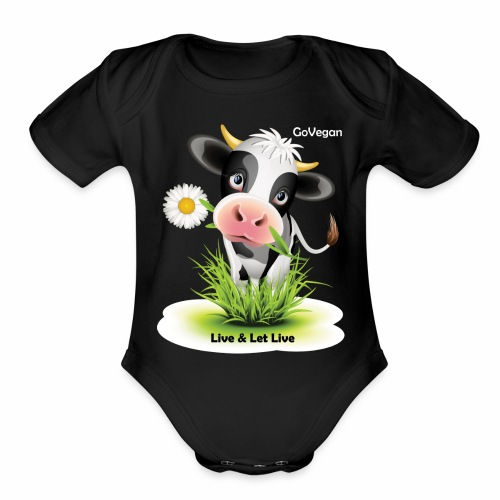 Live & Let Live Cow - Organic Short Sleeve Baby Bodysuit