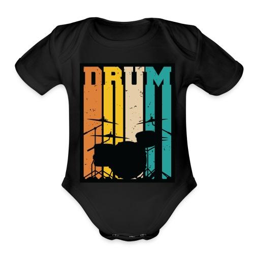 Retro Drum Set Silhouette Illustration - Organic Short Sleeve Baby Bodysuit