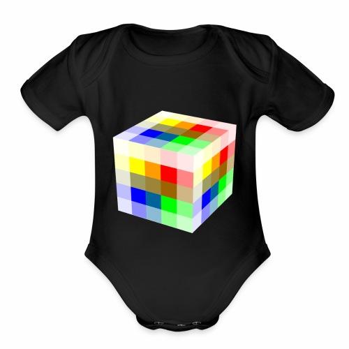 Multi Colored Cube - Organic Short Sleeve Baby Bodysuit