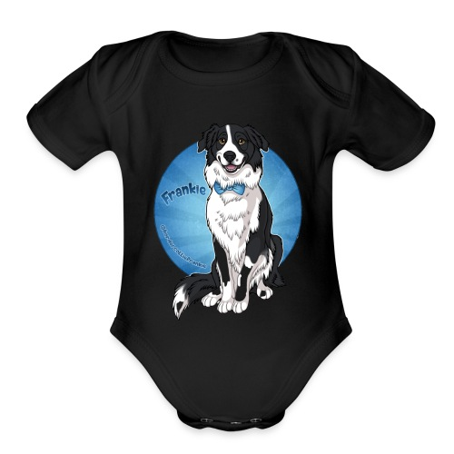 Border Collie Frankie Full Colour With Name - Organic Short Sleeve Baby Bodysuit