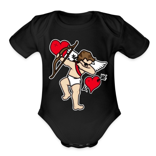 Dabbing Cupid For Valentines Day Gift T shirts - Organic Short Sleeve Baby Bodysuit