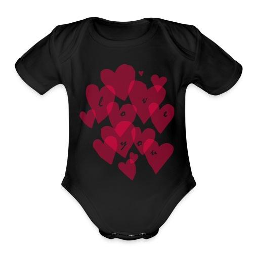 love you - Organic Short Sleeve Baby Bodysuit