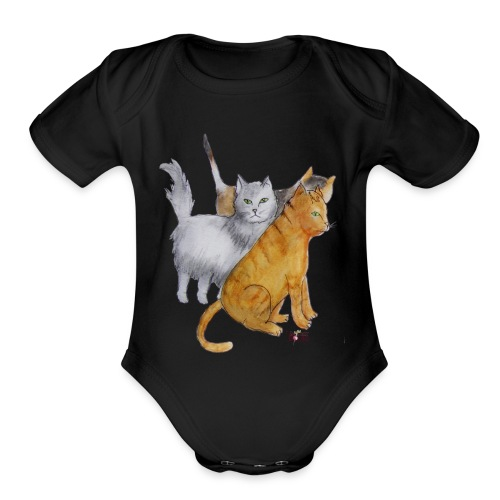 Paris Street Cats - Organic Short Sleeve Baby Bodysuit
