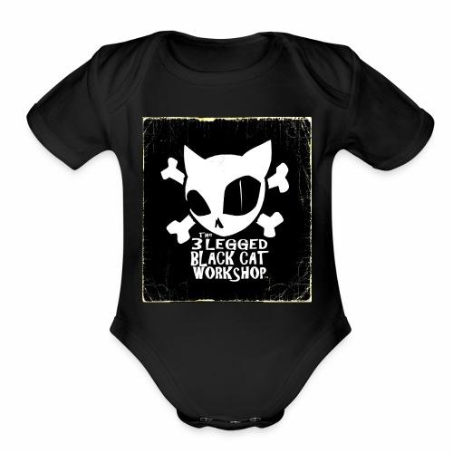THE 3 LEGGED BLACK CAT WORKSHOP shirt - Organic Short Sleeve Baby Bodysuit