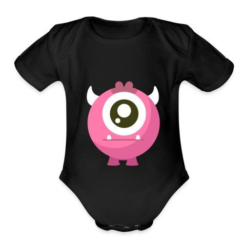 Monster Pink - Organic Short Sleeve Baby Bodysuit