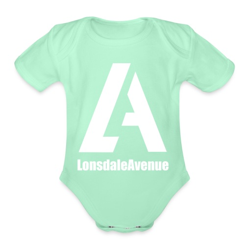 Lonsdale Avenue Logo White Text - Organic Short Sleeve Baby Bodysuit