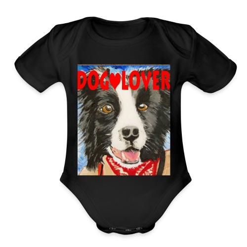 dog-lover border collie - Organic Short Sleeve Baby Bodysuit