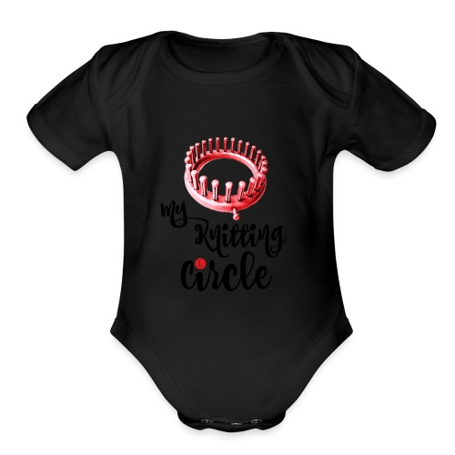 My Knitting Circle Black Letters - Organic Short Sleeve Baby Bodysuit