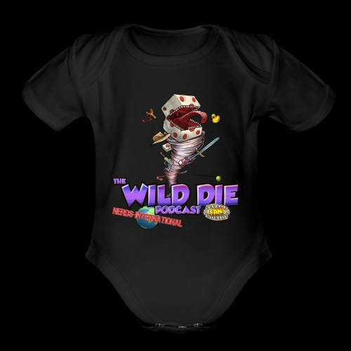 The Wild Die Podcast with N-I logo - Organic Short Sleeve Baby Bodysuit