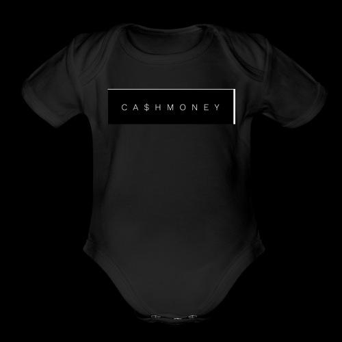Ca$hMoney box logo v2 - Organic Short Sleeve Baby Bodysuit