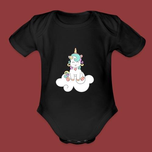 Happy Unicorn on Cloud 9 - Organic Short Sleeve Baby Bodysuit