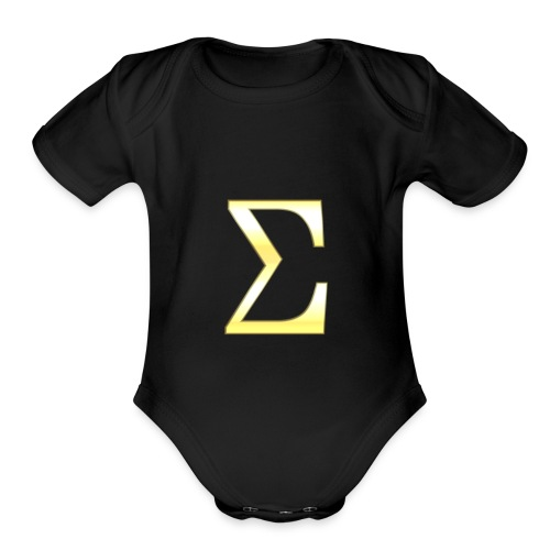 S I G M A in Gold - Organic Short Sleeve Baby Bodysuit