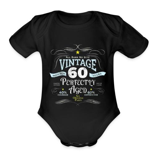 Funny Vintage 60th Birthday Gift - Organic Short Sleeve Baby Bodysuit