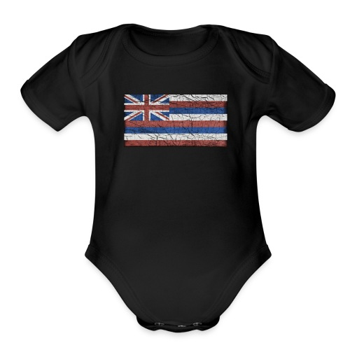 Hawaii Grunge Flag - Organic Short Sleeve Baby Bodysuit