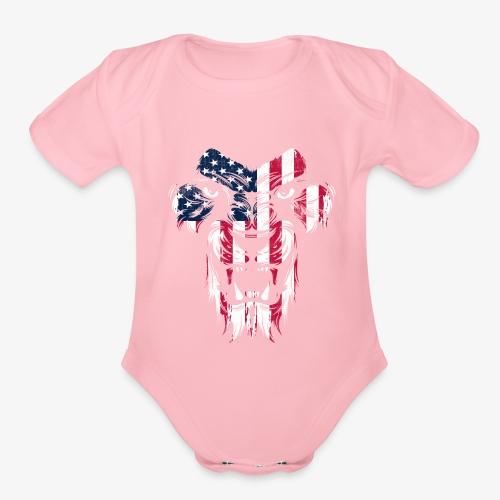 American Flag Lion - Organic Short Sleeve Baby Bodysuit