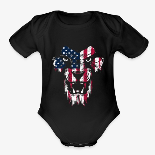American Flag Lion - Organic Short Sleeve Baby Bodysuit