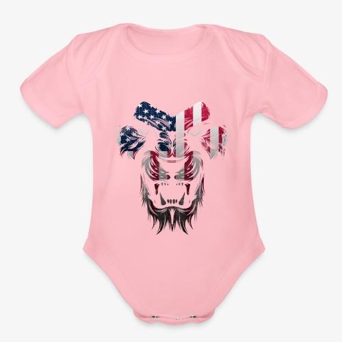 American Flag Lion Shirt - Organic Short Sleeve Baby Bodysuit