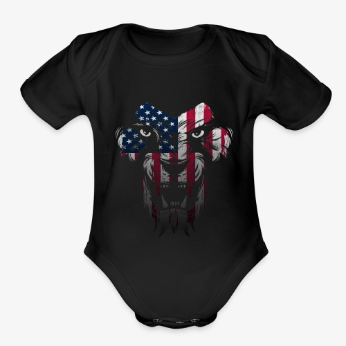 American Flag Lion Shirt - Organic Short Sleeve Baby Bodysuit