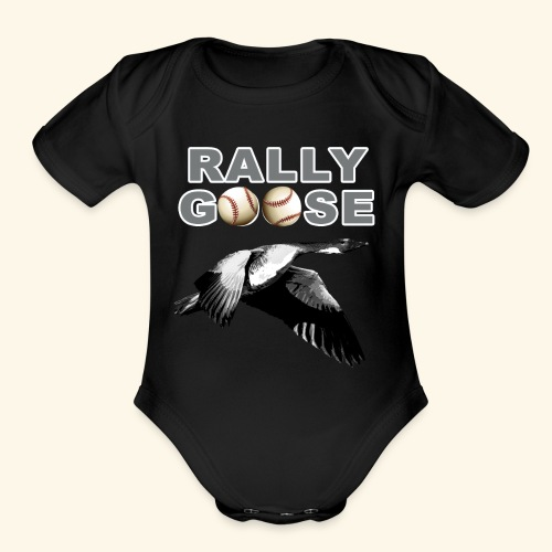 Detroit Rally Goose Baseball Lucky Charm Design - Organic Short Sleeve Baby Bodysuit
