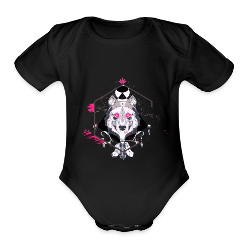 Wolf face - Organic Short Sleeve Baby Bodysuit