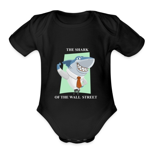 wall street shark - Organic Short Sleeve Baby Bodysuit