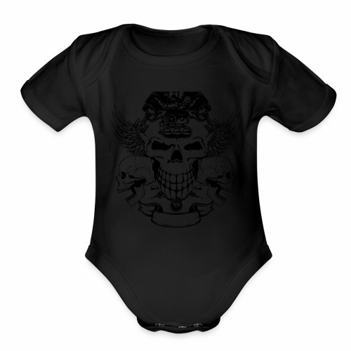skull design - Organic Short Sleeve Baby Bodysuit