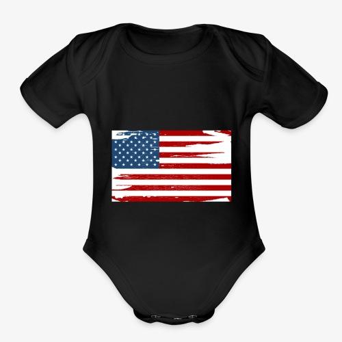 Bandera del Día de la Independencia de los Estados - Organic Short Sleeve Baby Bodysuit
