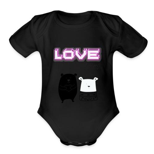 Love Is All That Matters Bears - Organic Short Sleeve Baby Bodysuit