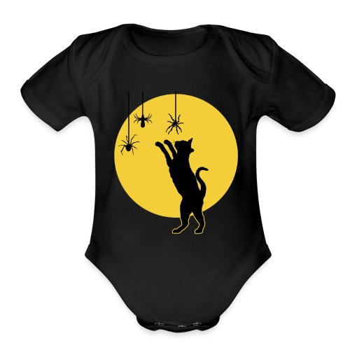 Full Moon with Black Cat and Spiders Halloween - Organic Short Sleeve Baby Bodysuit