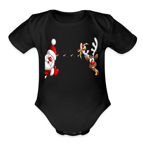 Santa Claus and Reindeer T-Shirt Merry Christmas - Organic Short Sleeve Baby Bodysuit