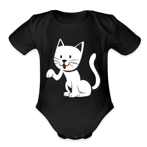 cat - Organic Short Sleeve Baby Bodysuit
