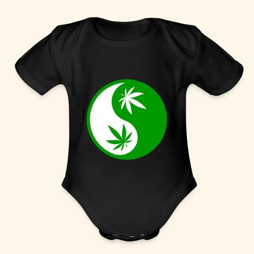 Ying Yang Cannabis - Weed Ying Hanf Yang - Design - Organic Short Sleeve Baby Bodysuit