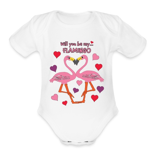 Will You be my Flamingo Valentine Kisses - Organic Short Sleeve Baby Bodysuit