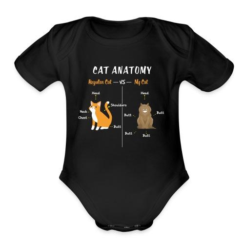 Cat Anatomy T-Shirt | Regular VS My Cat - Organic Short Sleeve Baby Bodysuit