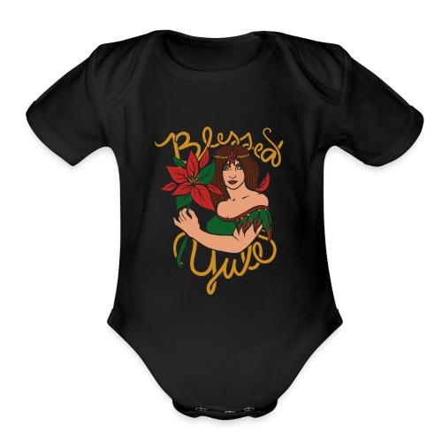 blessed yule - Organic Short Sleeve Baby Bodysuit
