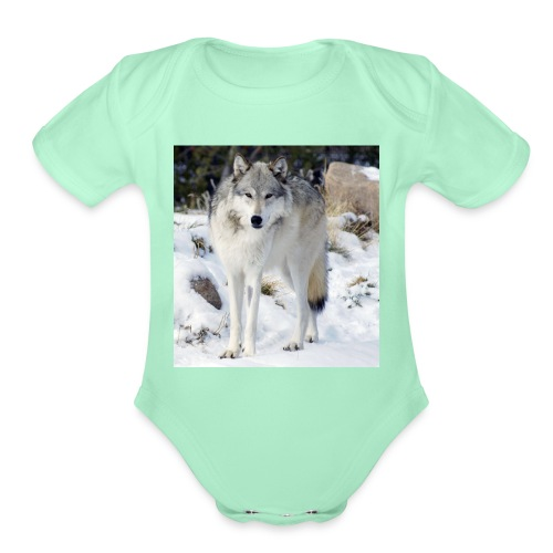 Canis lupus occidentalis - Organic Short Sleeve Baby Bodysuit
