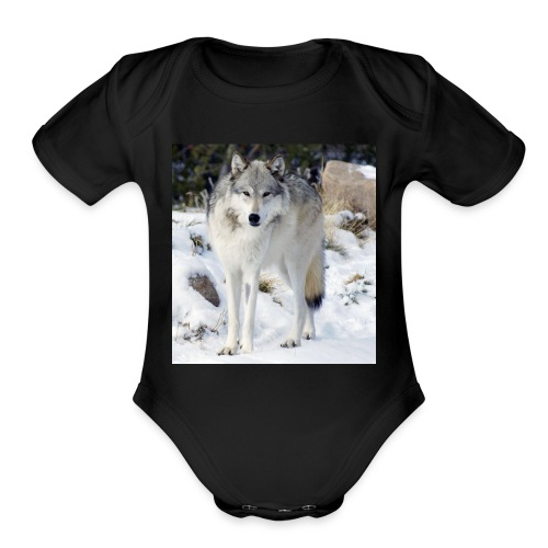 Canis lupus occidentalis - Organic Short Sleeve Baby Bodysuit